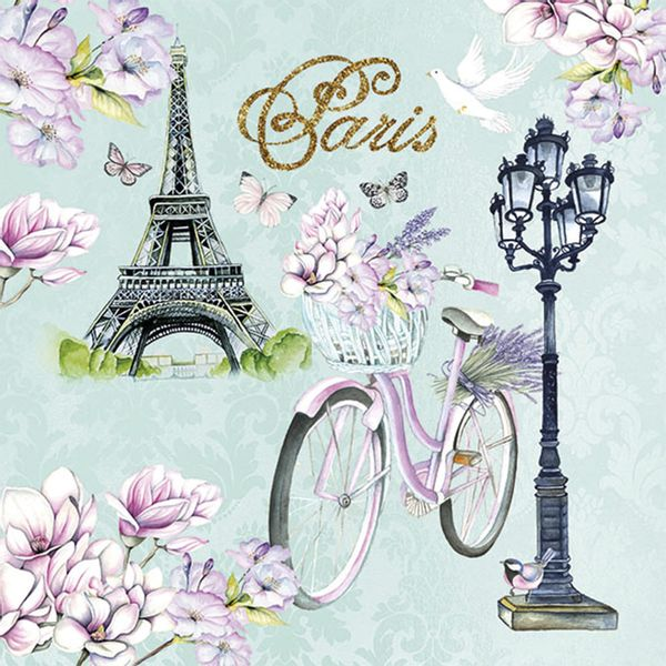 Guardanapo-Decoupage-Ambiente-Luxury-BIKE-IN-PARIS-13314235-2-unidades-Bicicleta-em-Paris