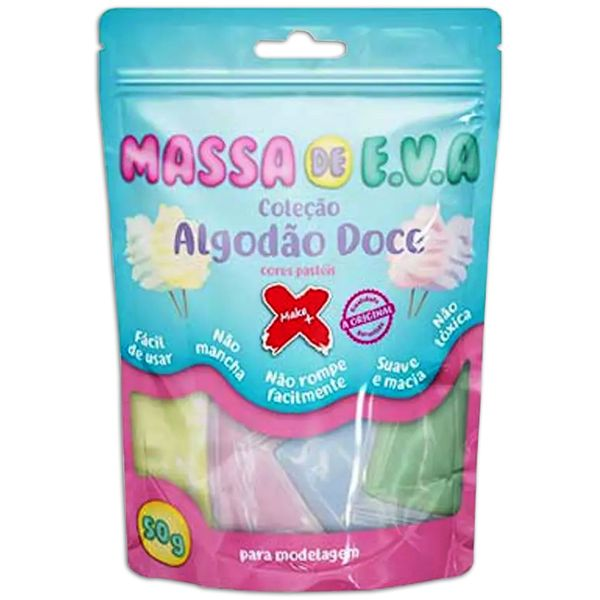Kit-Massa-de-Modelar-E.V.A-Lisa-Algodao-Doce-Make-Mais-para-Artesanato-5-Cores-50g-Rosa---Lilas---Verde---Azul---Amarelo