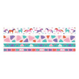 Kit-Fita-Adesiva-Decorativa-Washi-Tape-WER401-Unicornios-com-4-pecas