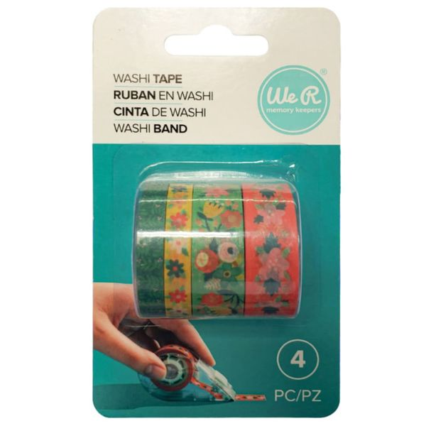 Kit-Fita-Adesiva-Decorativa-Washi-Tape-WER397-Floral-com-4-pecas
