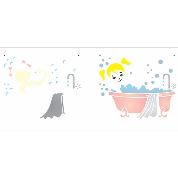 Stencil-OPA-17x42-2891-Infantil-Menina-Banho