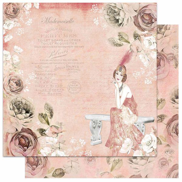 Papel-Scrapbook-Litoarte-305x305-SD-1058-Dama-Banco-Rosas