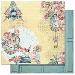 Papel-Scrapbook-Litoarte-305x305-SD-1067-Relogio-Maquina-de-Escrever-e-Flores