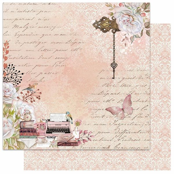 Papel-Scrapbook-Litoarte-305x305-SD-1069-Livros-Chave-e-Maquina-de-Escrever