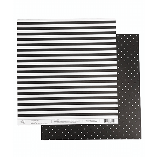 Papel-Scrapbook-Poa-e-Listras-305x305cm-PBLPO006-Preto-Tulip-Arts