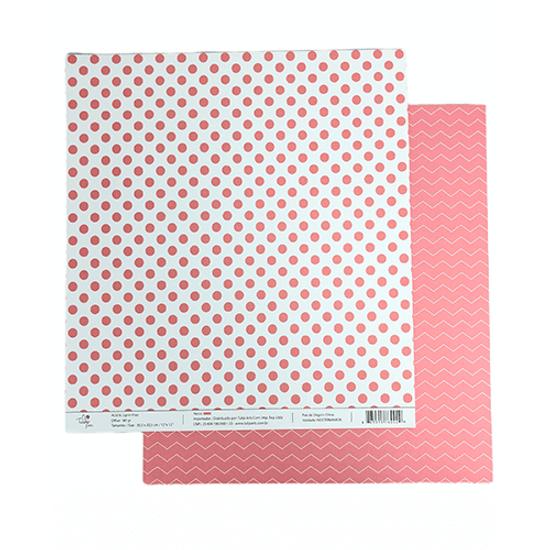 Papel-Scrapbook-Poa-e-Chevron-305x305cm-PBCPO005-Rosa-Tulip-Arts