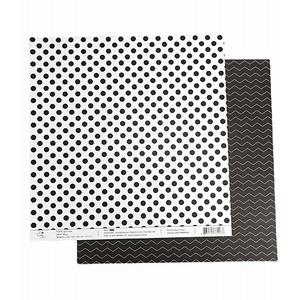 Papel-Scrapbook-Poa-e-Chevron-305x305cm-PBCPO006-Preto-Tulip-Arts