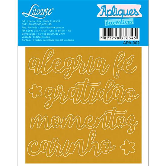Aplique-Decorativo-em-Acrilico-Espelhado-Litoarte-APA-002-Alegria-Fe-Gratidao-Momentos-Carinho-9x9cm