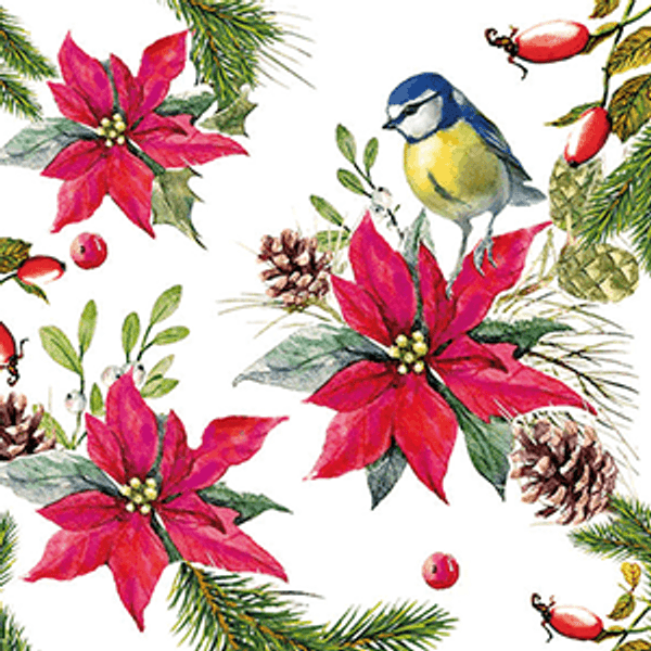 Guardanapo-Decoupage-Ambiente-Natal-Bird-on-Poinsettia-White-33314640-2-unidades