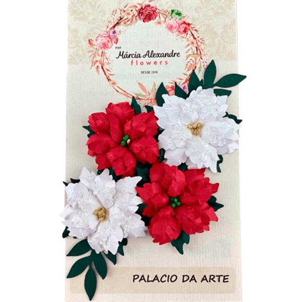 Flores-de-Papel-Artesanal-e-Perfumadas-Natal-Natalie-00028-04-Vermelho-e-Branco