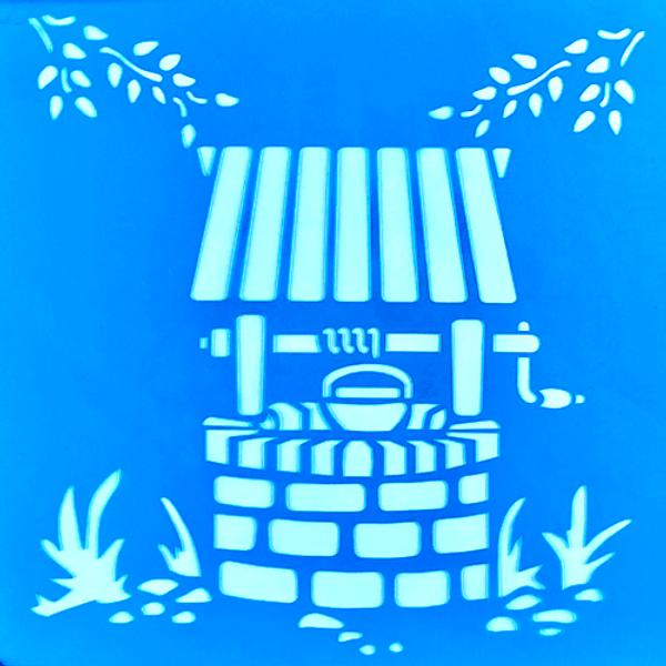 Stencil-Litocart-20x20-LSQ-178-Poco-de-Agua-com-Flores