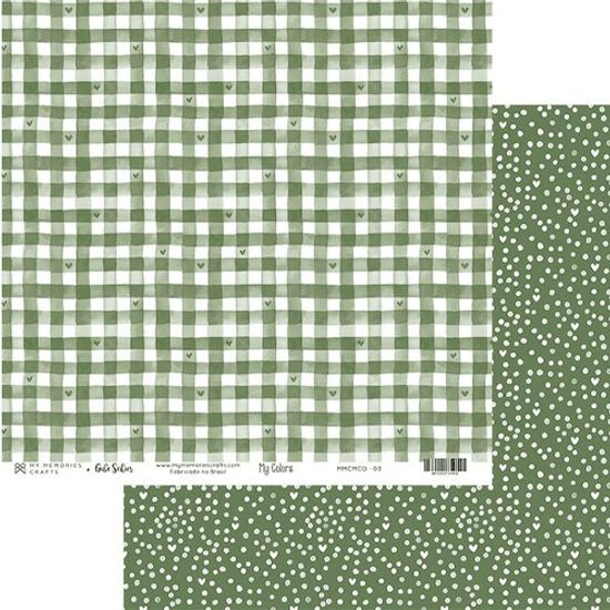 Papel-Scrapbook-My-Memories-Crafts-305x305-MMCMCO-003-My-Colors-Green