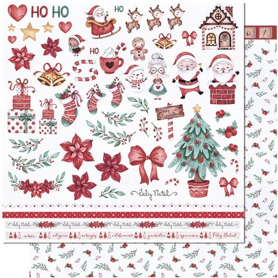Papel-Scrapbook-Natal-Litoarte-305x305-SDN-137-Feliz-Natal-Vintage-Folha-Recorte