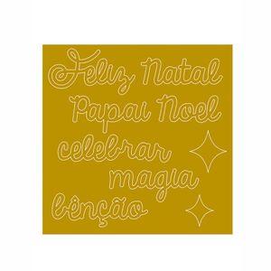 Apliques-Decorativos-em-Acrilico-Dourado-Litoarte-Natal-APAN-001-9x9cm-Feliz-Natal