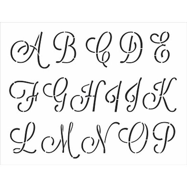 Stencil-Opa-32x42cm-3069-Alfabeto-Cursivo-Maiusculo-I-de-II