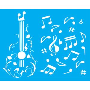 Stencil-Litocart-25x20cm-LSG-169-Violao-e-Notas-Musicais