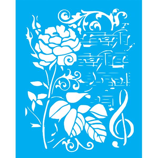 Stencil-Litocart-25x20cm-LSG-172-Rosa-e-Notas-Musicais