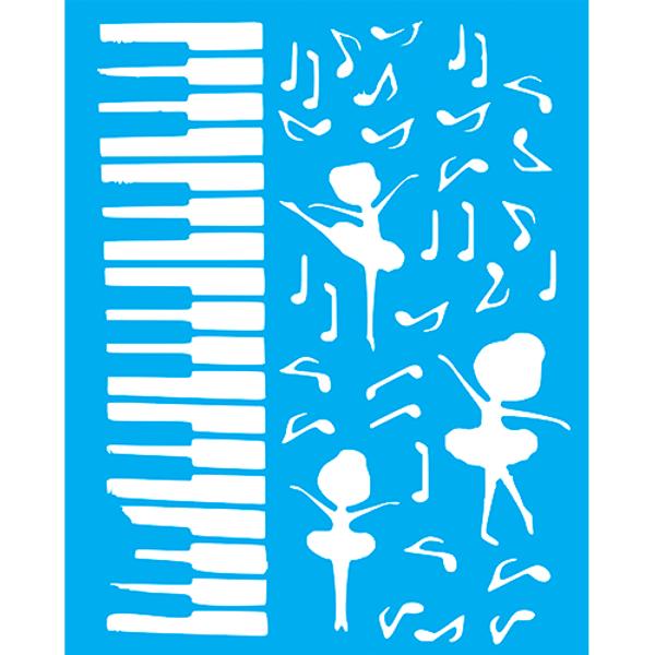 Stencil-Litocart-25x20cm-LSG-174-Piano-e-Bailarina