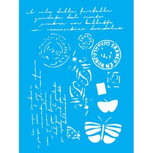 Stencil-Litocart-20x15cm-LSM-256-Cartas-Selos-e-Borboletas