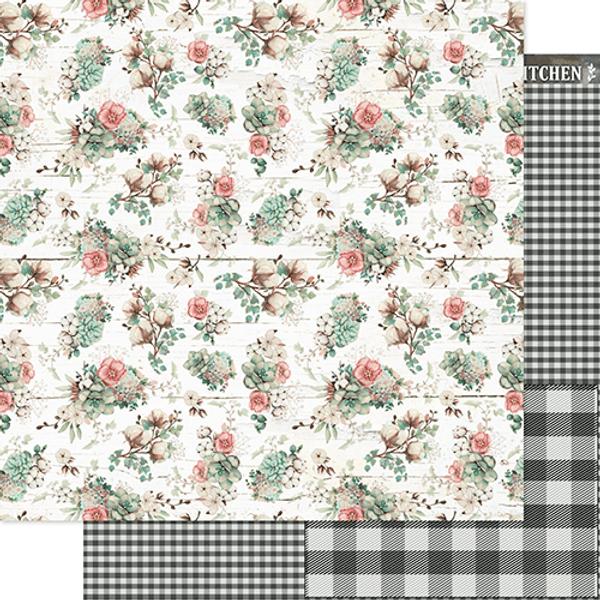 Papel-Scrapbook-Litoarte-305x305cm-SD-1181-Flores-e-Xadrez