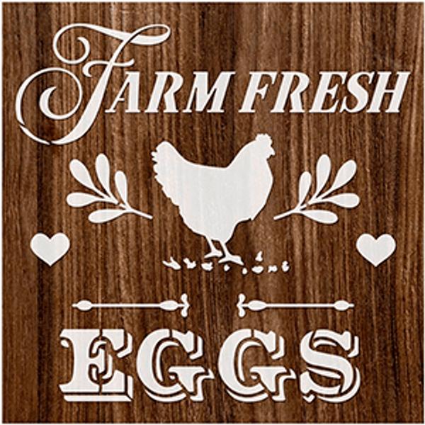 Stencil-Litoarte-14x14cm-STA-142-Eggs-Farm-Fresh