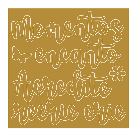 Aplique-em-Acrilico-Dourado-Litoarte-9X9cm-APA-003-Momentos-Encanto-Acredite-Recrie-Crie