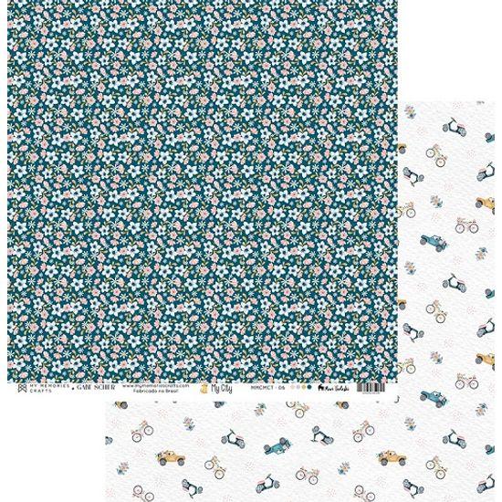 Papel-Scrapbook-My-Memories-Crafts-305x305-MMCMCT-006-Carros-e-Flores