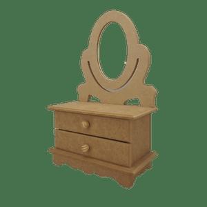 Penteadeira-Mini-em-MDF-Palacio-da-Arte-33x21x10cm-com-2-Gavetas-e-Espelho-Oval