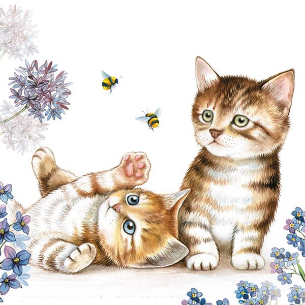 Guardanapo-Decoupage-Ambiente-13312885-Cats-and-Bees-2-unidades