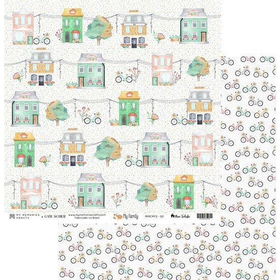 Papel-Scrapbook-My-Memories-Crafts-305x305-MMCMF2-002-Casinhas-e-Bicicletas