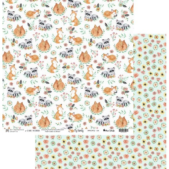 Papel-Scrapbook-My-Memories-Crafts-305x305-MMCMF2-004-Raposa-e-Flores