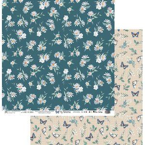 Papel-Scrapbook-My-Memories-Crafts-305x305-MMCMM2-002-Margaridas-e-Borboletas