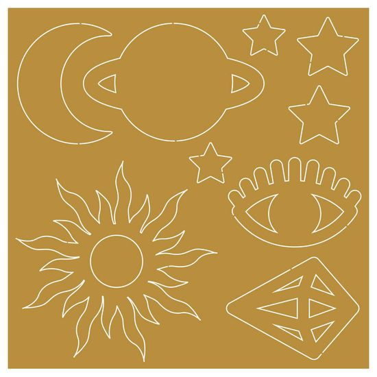 Aplique-em-Acrilico-Dourado-Litoarte-9X9cm-APA-008-Elementos-Astrologia