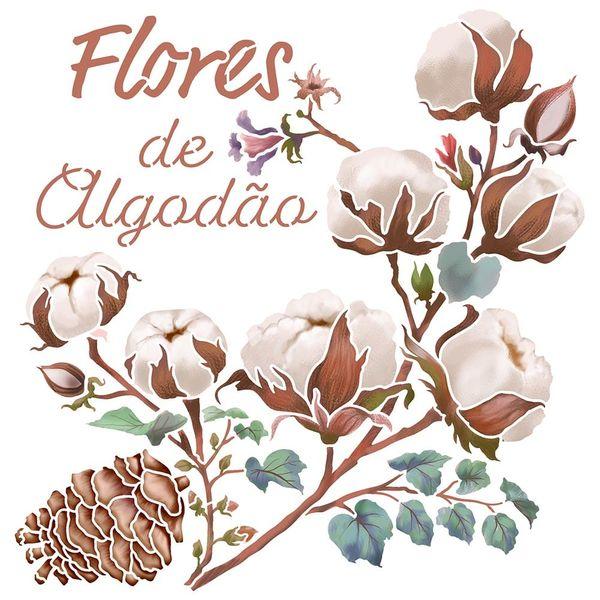 Stencil-Litoarte-20x20cm-STXX-210-Flores-de-Algodao