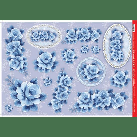 Papel-Decoupage-Litocart-34x48cm-LD-505-Rosas-Azul