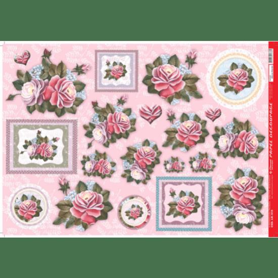 Papel-Decoupage-Litocart-34x48cm-LD-616-Flores-Rosa