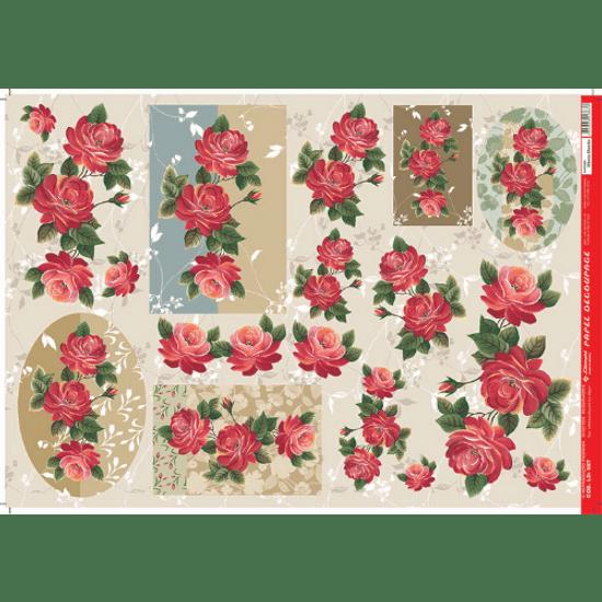 Papel-Decoupage-Litocart-34x48cm-LD-687-Flores-Vermelhas