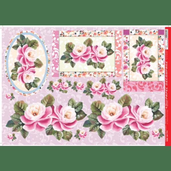 Papel-Decoupage-Litocart-34x48cm-LD-779-Flor-Rosa