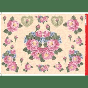 Papel-Decoupage-Litocart-34x48cm-LD-835-Rosas-e-Hortensias