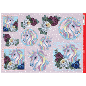 Papel-Decoupage-Litocart-34x48cm-LD-909-Unicornio-e-Flores