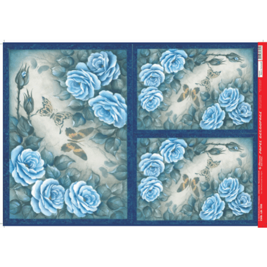 Papel-Decoupage-Litocart-34x48cm-LD-938-Rosas-Azul