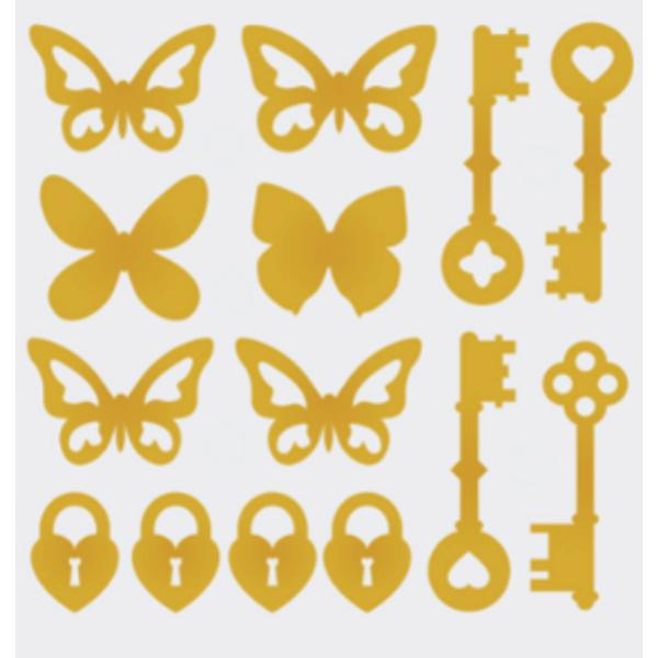 Aplique-Charme-Decore-Crafts-10x15cm-2003-39-Borboletas-e-Chaves-Dourado