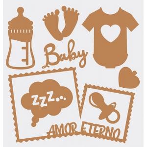 Aplique-Charme-Decore-Crafts-10x15cm-2005-20-Baby-II-em-MDF
