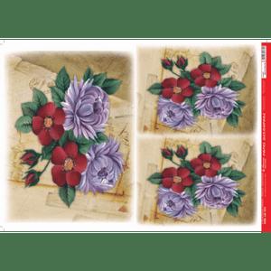 Papel-Decoupage-Litocart-34x48cm-LD-915-Flores-Vintage