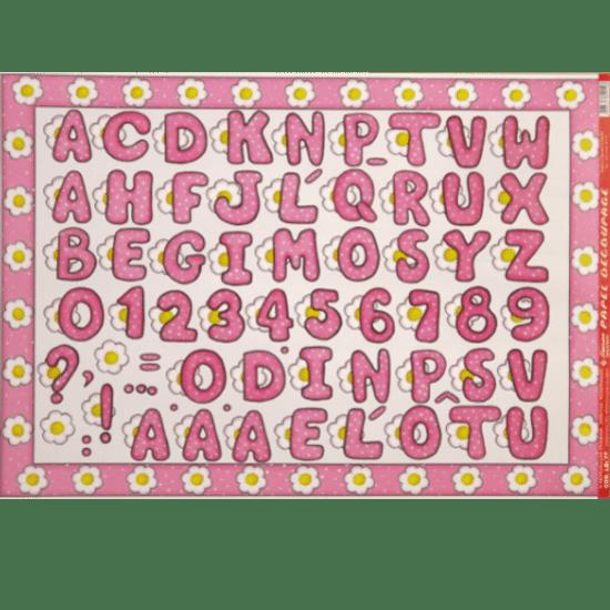 Papel-Decoupage-Litocart-34x48cm-LD-077-Alfabeto-Rosa
