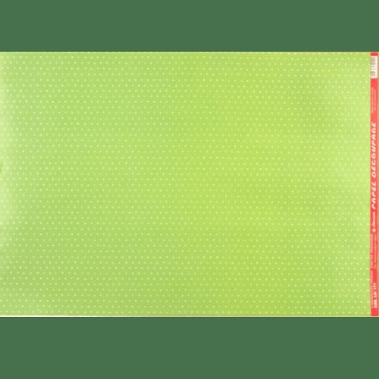 Papel-Decoupage-Litocart-34x48cm-LD-177-Poa-Branco-e-com-Fundo-Verde