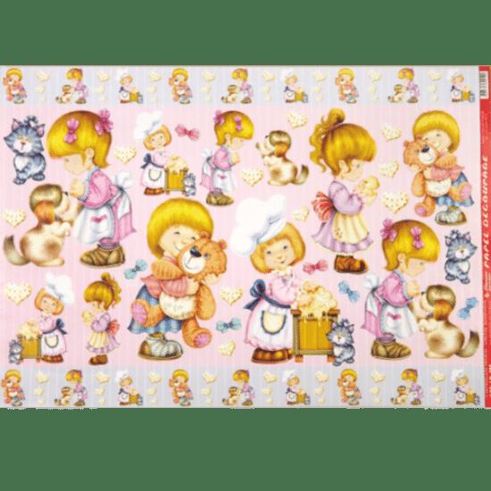 Papel-Decoupage-Litocart-34x48cm-LD-295-Criancas-e-Bichinhos