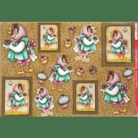 Papel-Decoupage-Litocart-34x48cm-LD-476-Galinha-Cupcake