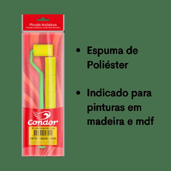 Mini Rolinho de Espuma Poliéster Lisa Condor 981 3,5cm com Cabo Extra Longo e 4 Refis
