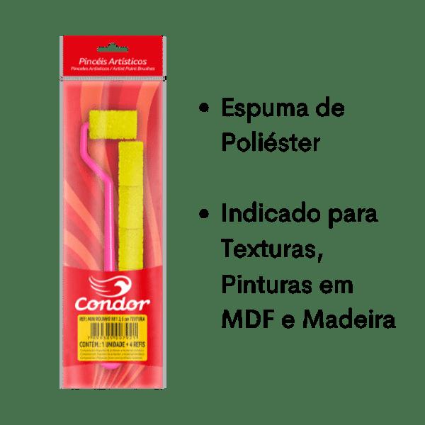 Mini-Rolinho-de-Espuma-Poliester-Textura-Condor-981-35cm-com-Cabo-Extra-Longo-e-4-Refis